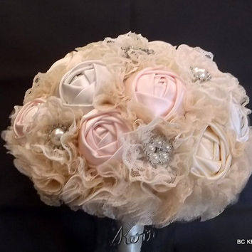 Handmade Shabby Chic  Lace with Blush, Ivory and Champagne Roses Wedding Bouquet