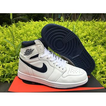 Air Jordan 1 High Og Metallic Navy Men Basketball Shoes