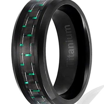 CERTIFIED 8MM Men's Titanium Ring Black Plated with Black and Green Carbon Fiber Inlay | Beveled Edges