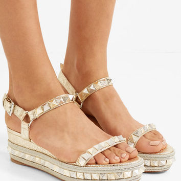 Christian Louboutin - Pyraclou 60 spiked metallic textured-leather wedge sandals
