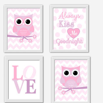 OWL Baby Girl Nursery Lavender Pink Purple Girl Room Wall Decor Kiss Me Goodnight Baby Girl Owl Decor Baby Girl Nursery Decor Baby Girl Art