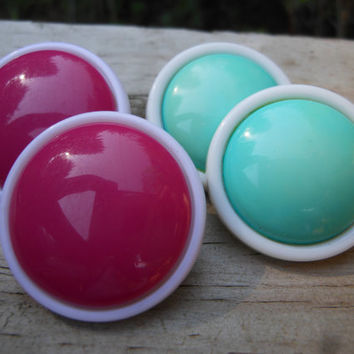 Button Earrings Vintage Plastic Cabochon Aqua Pink White Layered Geometric Jewelry Mod Pin Up Rockabilly Summer Accessories Post Studs Retro