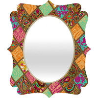 Aimee St Hill Patchwork Paisley Orange Quatrefoil Mirror