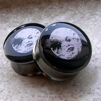 "Voyage Dans La Lune (A Trip to the Moon) Plugs - One PAIR - Sizes 2g, 0g, 00g, 7/16"", 1/2"", 9/16"", 5/8"", 3/4"", 7/8"", 1"" - Made To Order"