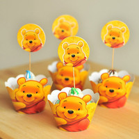 24pcs Winnie the Pooh cupcake wrappers and cake toppers set Party Favors