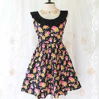 Summer Time III - Stunning Spring Summer Sundress Black Pleated Collar Cover  Playful Floral Print Vintage Lady Inspired Sundress
