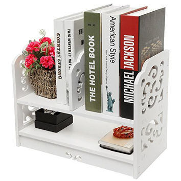 White Openwork Freestanding Book Shelf / Desk Top Organization Caddy / Stationary Storage - MyGift®