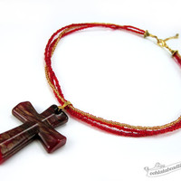 Red Cross necklace red choker christian necklace catholic gift lampwork necklace glass jewelry red necklace glass pendant murano glass