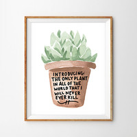 Succulent Black Thumb Hand Lettered Print