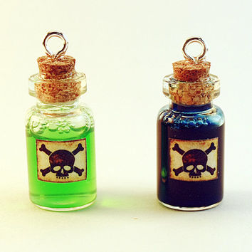 Poison / Glass Bottle Cork Necklace / Potion Charm