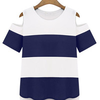 Nautical Stripe Cut Out Shoulder Tee