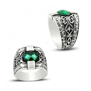 Filigree zirconia gemstone 925k sterling silver mens ring unique turkish jewelry handcrafted