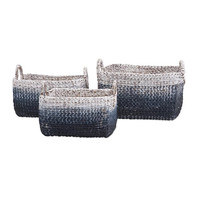 Ombre Blue Woven Water Hyacinth Baskets - Set of Three (3)