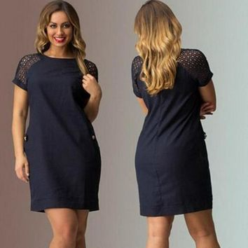 Autumn Plus Size Short Sleeve Round-neck Women's Fashion Casual One Piece Dress [6044831809]