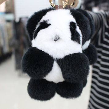 trinket panda Doll Phone Pendant Fur Keychain Bag anamial Real Fox Fur Ball Gift Key Chain Car Keyrings Pom Pom Car keychain