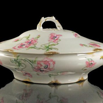 Antique Covered Vegetable Bowl, Theodore Haviland, Limoges, France, Pink Poppy Pattern, Schleiger 841-1, Gold Trimmed, Hard To Find China