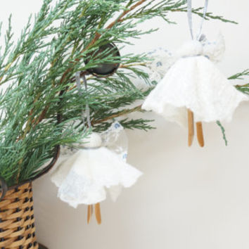 Angel set of 2 Christmas tree ornaments hanging Wool color felted white baby children nursery room decor clothing pin vintage upcycle