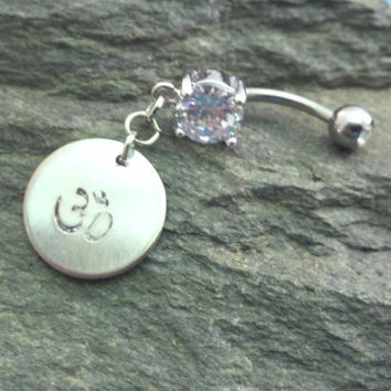Ohm Om Belly Button Ring Handstamped Belly Button by MidnightsMojo