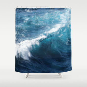 "Shower Curtain - 'Blue Wave' - 71"" by 74"" Home Decor, Bathroom, Bath, Dorm Decor, Girl Decor, Christmas Decor"