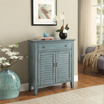 Winchell collection antique blue finish wood shutter design console entry table