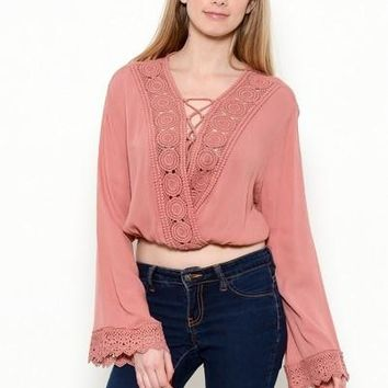 bell sleeve wrap top with crochet
