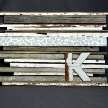 Reclaimed Barn Wood Wall Art with Tile Mosiac strips, Sculpture mixed media, Rusty pole barn steel cutout Letter, Rustic and Shabby Chic