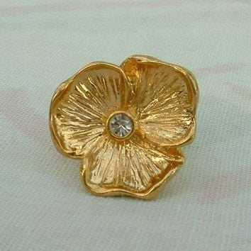 12K Gold Tie Tac Lapel Pin Small Flower Designer Signed Vintage Floral Jewelry