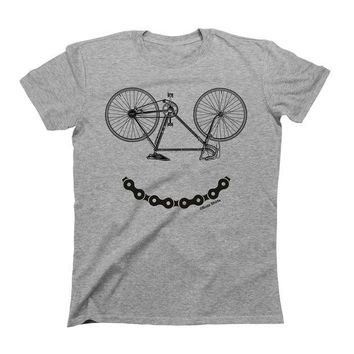DCCKV2S Mens T-Shirt Smiley Bicycler Chain Funny Biker Cyclinger Gift By Buzz Shirts Round Neck T Shirt Cheap Sale 100 % Cotton Top Tee