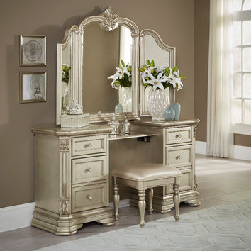 Home Elegance HE-1919NC-14-15 3 pc antoinetta collection champagne finish wood bedroom make up vanity and stool set