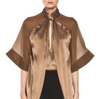 GIVENCHY | Satin Tie Neck Blouse in Multi www.FORWARDbyelysewalker.com