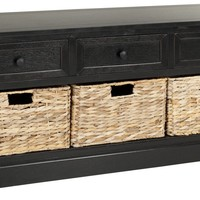 Damien 3 Drawer Storage Bench Distressed Black