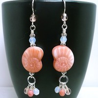 Peach Czech Nautilus Crystal Ocean Sterling Silver Summer Earrings
