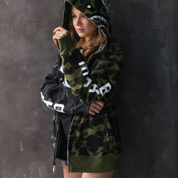 HCXX 19Sep 611 Bepe x Nbhd stitching camouflage couple lovers jacket hoodies