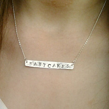 Nameplate necklace, Sterling Silver or Gold personalized necklace, Bridesmaids gift, Mothers day gift, name bar necklace