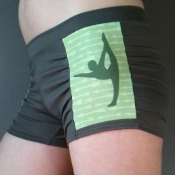 Standing Bow w Arrows on Steel Gray Bikram Hot YOGA Shorts