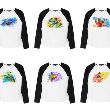 Kid's Illustration of Sports Printed Cotton Long Sleeves Raglan T-shirt UTS_01