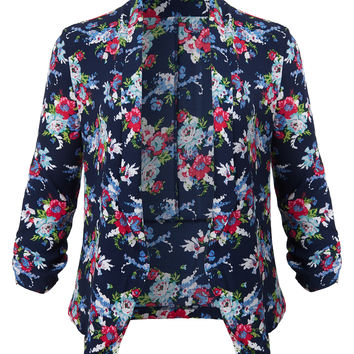 LE3NO Womens Plus Size Ultra Lightweight Chiffon Floral Open Front 3/4 Sleeve Blazer