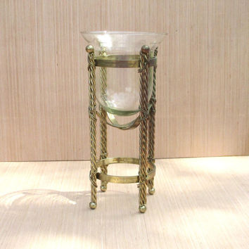 TALL PEDESTAL STAND with Glass Globe, Vintage Home Decor Vase, Gold Tone Color for Holiday Decor, Floating Candle Holder
