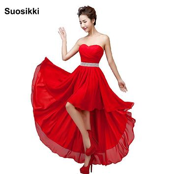 Suosikki Sleeveless Chiffon Short Front Long Back Bandage Prom Dress Short robe de soiree plus size beach evening party gown
