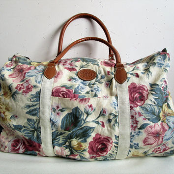 Vintage 1980s Gitano Tote Bag Rose Pink Brown Floral Cotton Canvas Duffle Bag