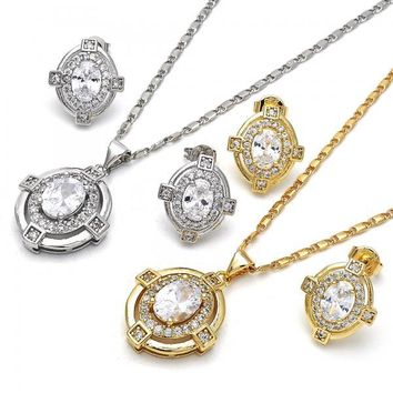 Gold Layered Earring and Pendant Adult Set, with Cubic Zirconia, Golden Tone