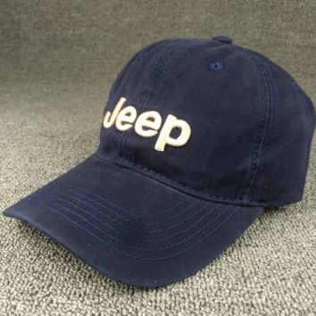 Navy Blue Color Unisex JEEP Embroidered Baseball Cap Hat