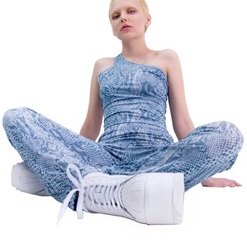 Bite Me Snakeskin Pants - Blue