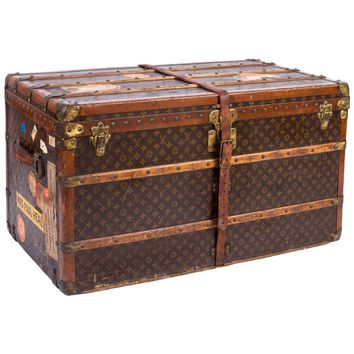 "LOUIS VUITTON ""Lady's Trunk"" c.1920's LV Monogram Canvas Wardrobe Steamer Trunk"