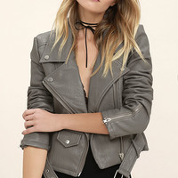 Tough Girl Grey Vegan Leather Moto Jacket