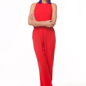 Red Sexy Jumpsuit,Casual Jumpsuit,Evening Wear, Open Back,Summer Party Maxi Pants.Retro Style 1970's.