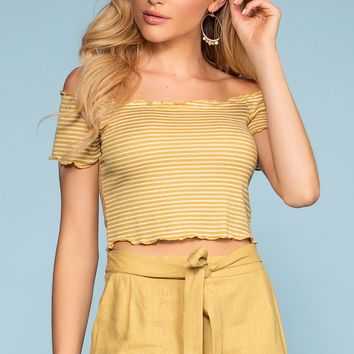 Beginnings Stripe Off The Shoulder Crop Top - Honey