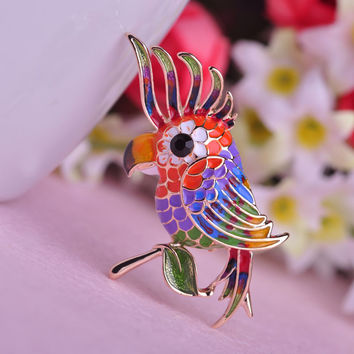 Noble Bird Empress Brooch Colorful Enamel 18K Gold Plated Women Brooches For Bag Ladies Branch Birds Pins Corsage Free Shipping