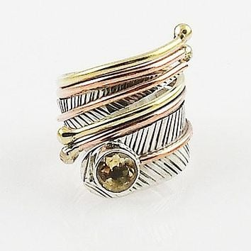 Citrine Adjustable Three Tone Sterling Silver Wrap Ring