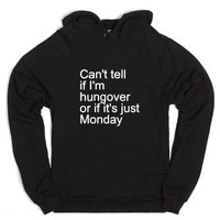 hungover or monday-Unisex Black Hoodie